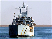RFA Sir Galahad arriving in Umm Qasr