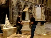 Props being set up in the cathedral