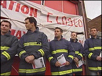 Strikers at Stevenage Fire Station