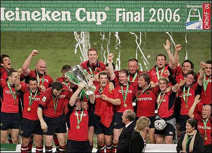 Munster's captain Anthony Foley lifts the trophy
