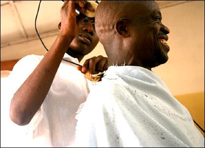 Barber's shop in Benin, sent in by BBC News website reader Peeter Viisimaa