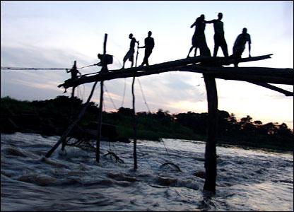 Wagenia fisherman in Kisangani, the Democratic Republic of Congo, sent in by BBC News website reader Myoto Liyolo