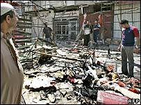 Scene of bomb at Baghdad market