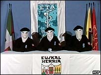 A TV shot of the video in which pro-independence armed Basque group ETA declares a permanent ceasefire, 22 March 2006