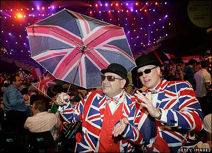 British fans in Union Jack suits