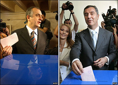 Montenegro's Prime Minister Milo Djukanovic and opposition leader Predrag Bulatovic