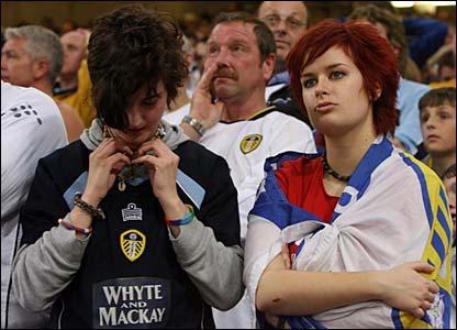 The Leeds' fans look despondent