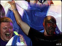 Finnish fans at the Eurovision Song Contest in Athens