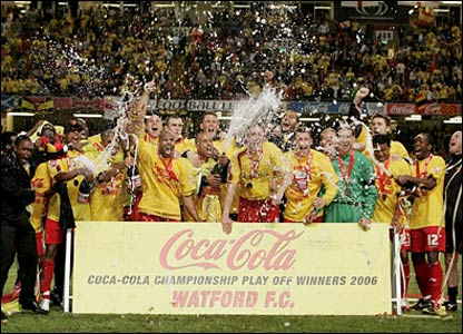 The Watford players celebrate