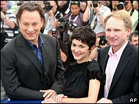 The Da Vinci Code stars Tom Hanks and Audrey Tautou with author Dan Brown in Cannes