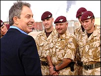 Tony Blair on a visit to British soldiers in Basra, Iraq, in December 2005