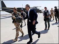 Tony Blair arrives in Baghdad
