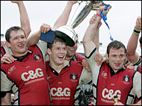 Gloucester's players celebrate their dramatic victory