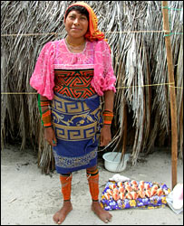 A Cuna woman selling sea shells