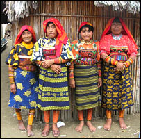 Cuna women at a girl's passage to womanhood ceremony
