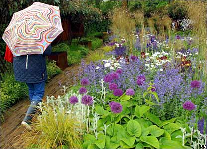Chelsea flower show on monday which has been hit by d weather