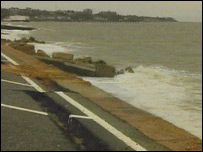 50yds of the sea defences next to the Shore Break cafe, Felixstowe, was damaged by strong seas