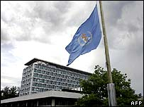 Flag at half-mast at WHO HQ in Geneva