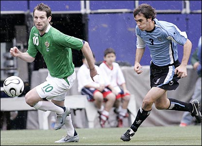 Northern Ireland lost 1-0 to Uruguay in the Giants Stadium, New York