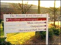 Princess Royal Hospital sign