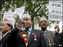 Gurkha veterans protest
