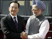 Wen Jiabao y Manmohan Singh