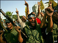 Militants from the Fatah movement protest against the new security force  on 21 May