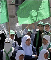 Teachers demonstrated in support of the Hamas-led government on 3 May