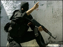 A member of the new security forces of the Hamas-led government in Gaza City on 22 May