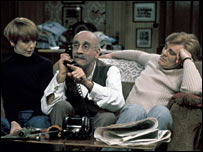 Actors Una Stubbs, Warren Mitchell and Anthony Booth in Till Death Us Do Part