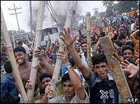 Demonstrators in Ashulia, around 40 kms from Dhaka