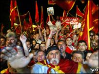 Montenegrin pro-independence supporters celebrate their victory