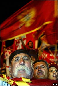 Montenegrin pro-independence supporters celebrate in the town of Cetinje