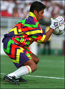 Mexico's Jorge Campos in action in the USA in 1994