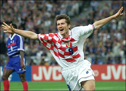 Davor Suker celebrates a goal in the red and white of Croatia at France '98