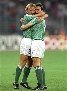 Andreas Brehme and Klaus Augenthaler celebrating after reaching the World Cup final - at England's expense - in 1990 in Italy