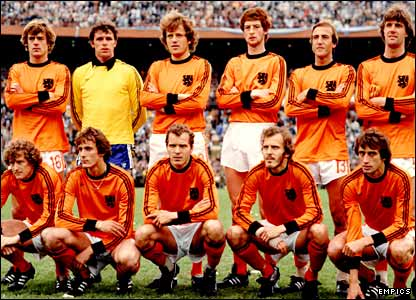 Holland line up ahead of the 1978 World Cup final in Argentina