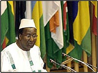 Commission chairman Alpha Oumar Konare at launch of AU security council, 2004