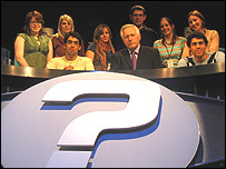 The team of student producers with David Dimbleby