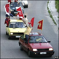 Montenegrins arrive to celebrate the independence vote in the medieval capital of Cetinje, west of Podgorica