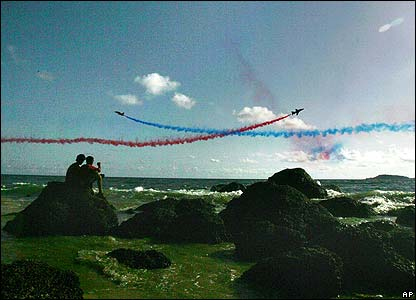 A couple watch a Red Arrows display in Goa, India