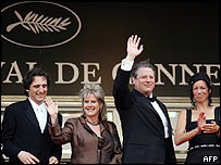 Al Gore waves to the crowd at Cannes, where his film was well received