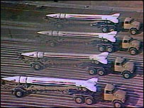 Scud missiles on parade in Baghdad (Iraqi TV still from 29 January 1991)