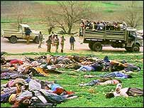 The bodies of Iraqi Kurds poisoned by chemical weapons at Halabja