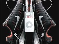 Nike running shoes and Apple Nano