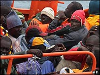 Immigrants intercepted near Tenerife, the Canary Islands. File photo