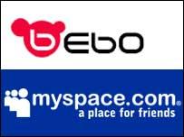 Bebo and MySpace logos, BBC