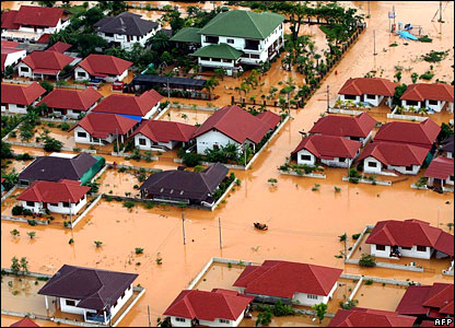 Ariel view of Thai flooding