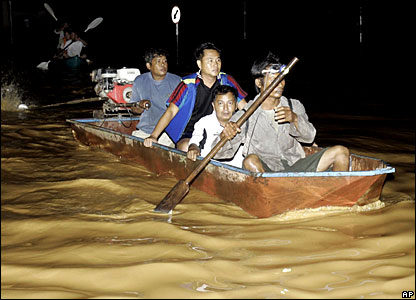 Boat in Thai flooding