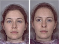 Women whose parents had poor relationship look more masculine (left) compared with women  whose parents had a good relationship (right)